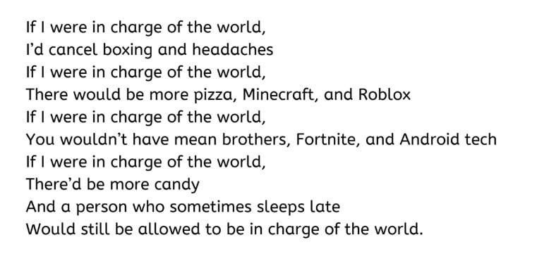 student sample poem If I Were in CHarge of the World