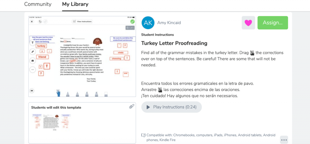 Seesaw turkey proofing activity