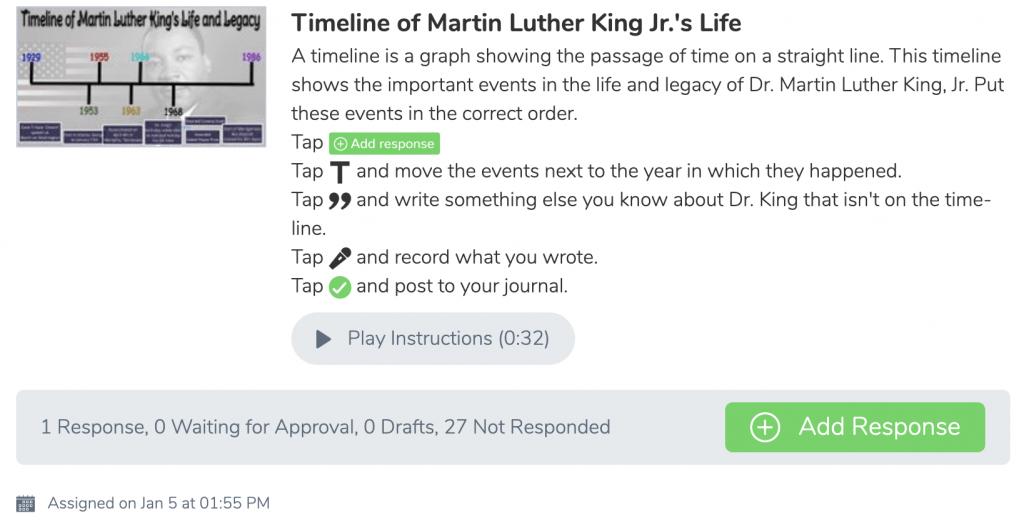 Seesaw activ Make a MLK Jr. timeline