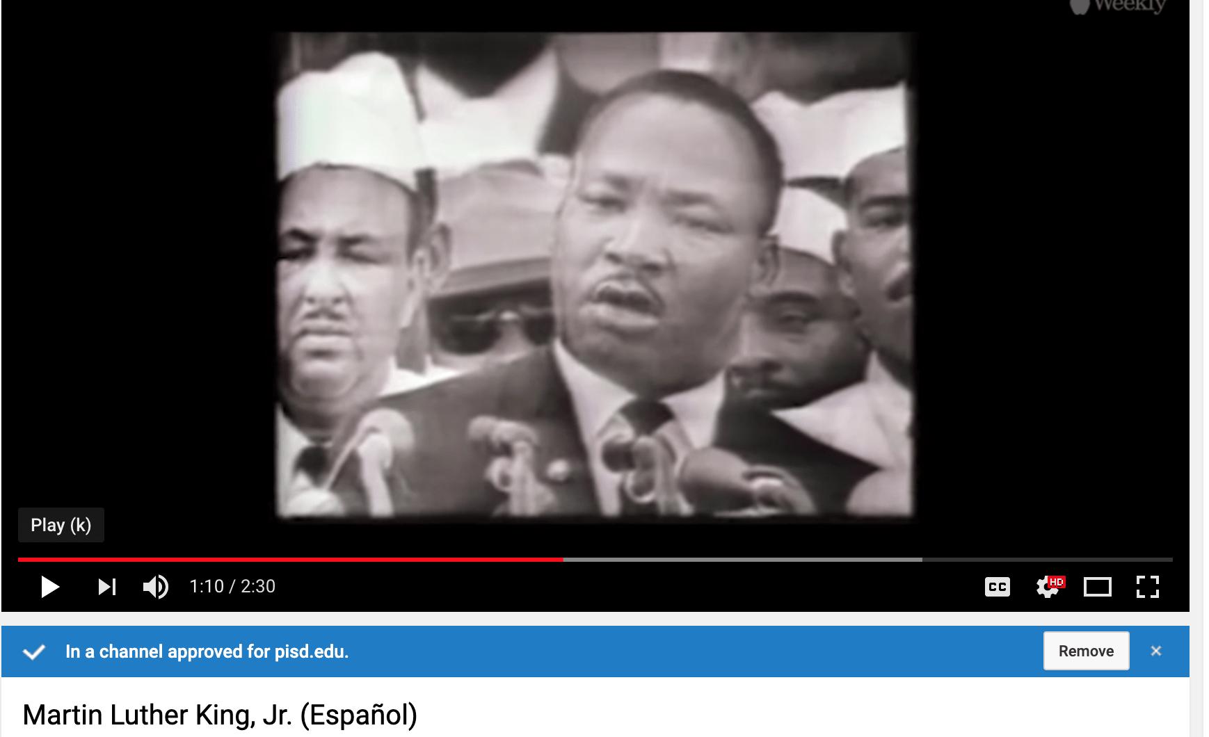 Spanish MLK Jr video