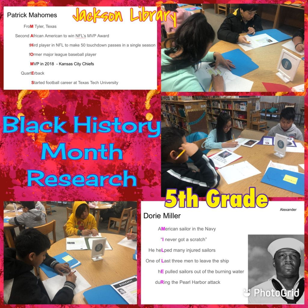 5th writing Black History Month Acrostics