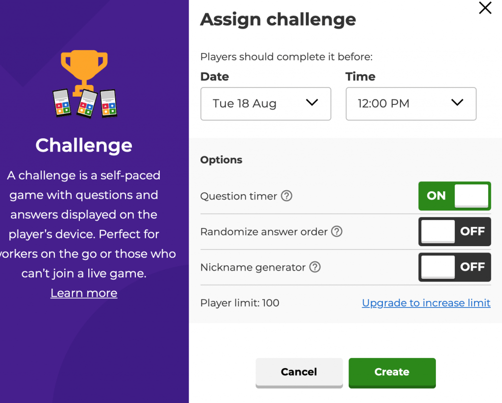 Assign challenge time frame due dates