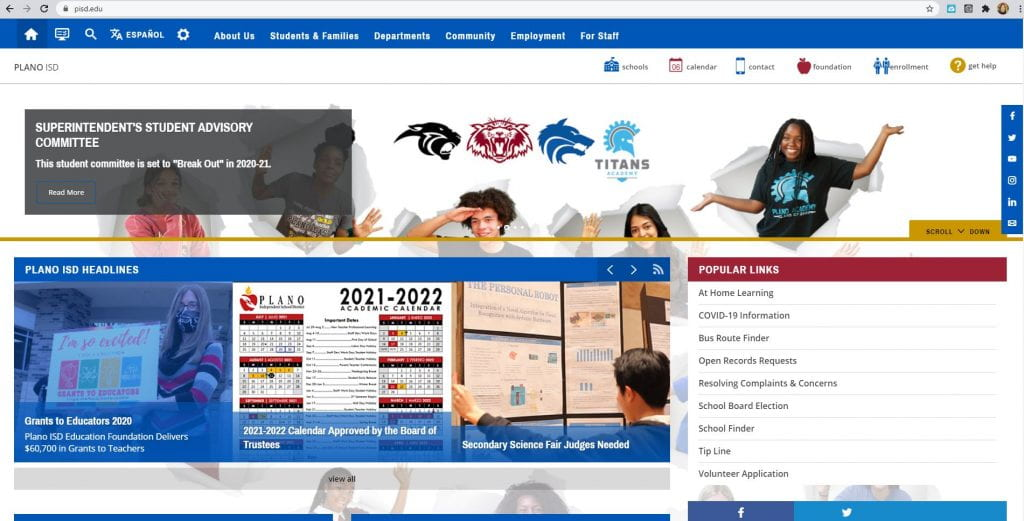 PISD website front pg