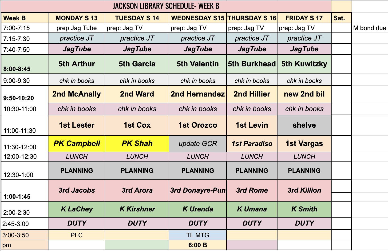 s 13 wk sched